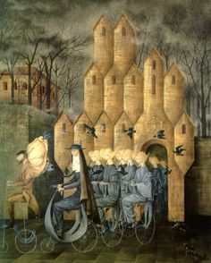 Hacia la torre (Towards the Tower) by Remedios Varo, 1960. Oil on canvas, 123 x 100 cm.