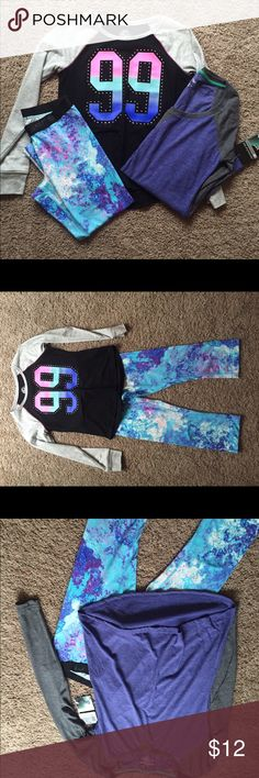Workout outfit for Women's Small A pair of cute, colorful spandex mid-length workout capris (small) (tight at bottom not flare); a sporty quarter sleeve top (small), and as a free gift a purple/ grey lightweight long sleeve workout top with tags still attached (Medium) Other
