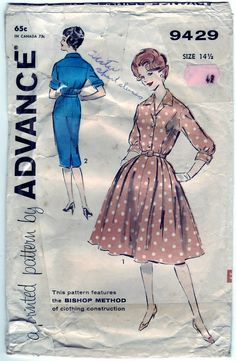 Vintage 1960 Advance 9429 Sewing Pattern Misses' Dress Size 14-1/2