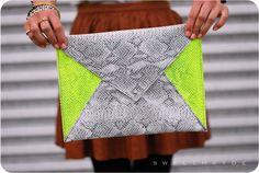 Neon Envelope Clutch  - 25 DIY Handbags and Clutches