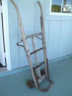 Antique Wood Amp Iron Barrel Dolly Hand Truck Cart Railroad