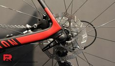 Canyon Disc Road bike, close up on rear disc mount