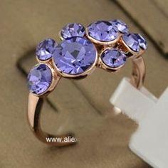 Anel Purple Folheado a Ouro Rose 18K com Pedras de Cristal Stellux Austríaco - AN1256 =>  R$39,90
