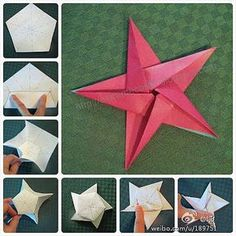 Origami Star by einfach Yvonne Christmas How to fold a 5 pointed origami star with step by step photos. An easy way to make beautiful Christmas star decorations. Origami Star - Start with any size square of midweight paper origami star- in fabric this wou Diy Origami, Origami And Kirigami, Origami Paper, Diy Paper, Paper Crafting, Dollar Origami, Origami Folding, Ideas Origami, Origami Balloon