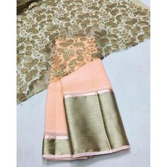 """Peach chiffon saree with gold emboridery blouse"