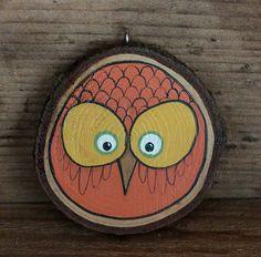 Autumn Owl Wood Slice Ornament  Harvest by ourbackyardstudio