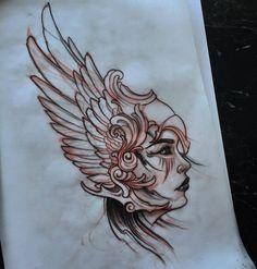 """akostattoo: """" Valkyrie for today on 😁 Sketch Tattoo Design, Tattoo Sketches, Tattoo Drawings, Tattoo Designs, Warrior Tattoos, Viking Tattoos, Valkerie Tattoo, Athena Tattoo, Knight Tattoo"""