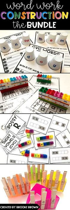 Low Prep, Hands-on Work Work Literacy Centers for Kindergarten, First Grade and Second Grade! | Word Work Construction