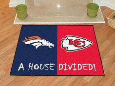 """NFL House Divided - Broncos / Chiefs House Divided Mat 33.75"""""""" X 42.5"""""""""""