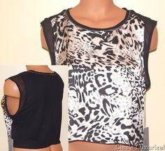 NWT Women's Shirt L. Jennifer Lopez Crop Top Metal Chain Trim Cheetah $40 #JLO #CropTopTank #Clubwear