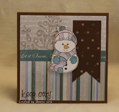 """2012 Christmas Card. Patterned papers from Close to My Heart """"Wonderland"""" collection. Stamped image from The Greeting Farm """"Keep Cozy""""."""