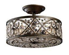 """View the Elk Lighting 11286/4 10"""" Height Traditional / Classic 4 Light Semi Flushmount Ceiling Fixture with a Drum Shade from the Amherst Collection at Build.com."""