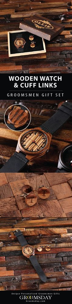 Stylish, eco-friendly wood watch and cuff link set is made from durable bamboo wood with Japanese quarts movements, and leather straps. Comes in a engraved wooden gift keepsake box any groomsmen would admire. Be sure to pin and follow for more incredible groomsmen gifts || Groomsday.com