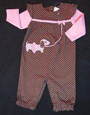 NWT Gymboree Polka Dot Puppy Romper 0 3 6 m Brown Pink Dot Ribbon Tutu One-Pc