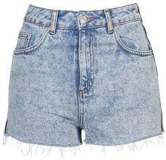 Moto Acid Wash Denim Shorts on ShopStyle