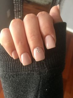 Square Acrylic nails #nude #pink #rhinestone #short #cute #plain
