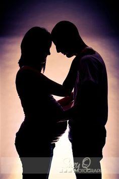 Maternity couple silhouette