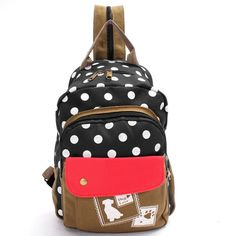 Super Cute Polka Dot CanvasStudent Backpack/Schoolbag
