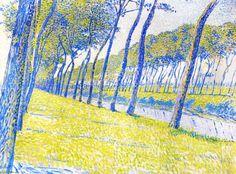 """""""Canal en Flandre"""", huile sur toile de Theo Van Rysselberghe (1862-1926, Belgium)"""