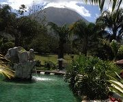 Arenal Volcano view from the thermal water pool at Paradise Hot Springs in La Fortuna, Costa Rica  paradisehotspringscr.com