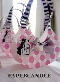 Set of 6 ASSEMBLED- Hobo-Shaped Purse Favor Boxes with Favor Tag by Paper Candee. $28.50, via Etsy.