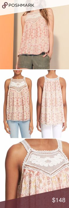 """NWT Joie Bayard Crochet Yolk Silk Tank Top NWT Joie Bayard Crochet Yolk Silk Tank Top A contrast crocheted yoke completes the romantic boho appeal of a flowy silk tank in an intricate print. - Crew neck - Sleeveless - Lined - Approx. 26"""" length 100% silk Dry clean Joie Tops Tank Tops"""