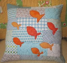 Goldfish Quilted Pillow Cover  16  Modern Quilting by 2Peeps, $45.00