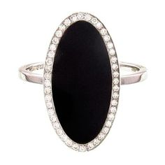 JENNIFER MEYER   Onyx Inlay Oval Ring Framed in Diamonds ($3,225) ❤ liked on Polyvore featuring jewelry, rings, onyx jewelry, 18 karat gold ring, handcrafted jewellery, 18 karat gold jewelry and 18k ring
