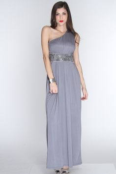 This classy sophisticated dress will be sure to turn heads no matter where you go. Look simply fabulous no matter the occasion with this dress. Pair it with your favorite heels and accessories or a complete look! It features one shoulder strap, beaded/sequin detailing waistband, and fitted. 92% Polyester 8% Spandex. Made in USA.