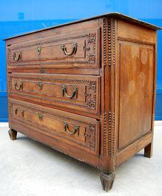 Comò cassettone provenzale rovere Luigi XVI '800 lungo 130 cm scolpito+