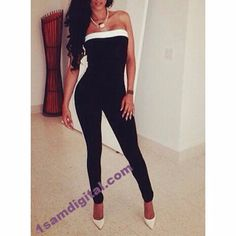 Strapless Sleeveless Black and White Splicing Women's Jumpsuit
