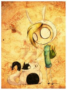 Tim burton drawings of Fionna and cake. Whoever says not everything can be burtonized is clearly wrong.