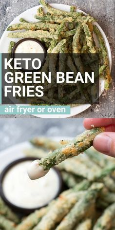Keto Green Bean Fries (air fryer and oven!) - Keto Recipes - Ideas of Keto Recipes - Try these low carb Crispy Green Bean Fries perfect for a game day snack! You can make these keto fries in the oven or air fryer! Less than 5 net carbs per serving! Ketogenic Recipes, Diet Recipes, Cooking Recipes, Healthy Recipes, Recipes Dinner, Easy Recipes, Healthy Snacks, Breakfast Recipes, Lunch Recipes