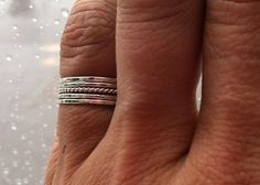 Set of 5 Tiny Sterling Silver Stacking by HomegrownSilverStone