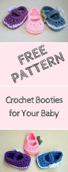 Free Little #Crochet Booties Pattern for Baby - 101 Crochet