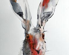 De originele aquarel Haas. Een van een soort kunstwerk. Water kleur konijn. Water kleur dierlijke tekening. Unieke gift, aquarel foto.