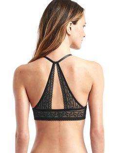 444742158b8 Gap Womens Lace-Back T-Shirt Bra True Black Full Support Bras