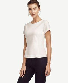 New Ann Taylor Womens White Stretchy Structured Peplum Short Sleeve Top Size XL #AnnTaylor #Peplum