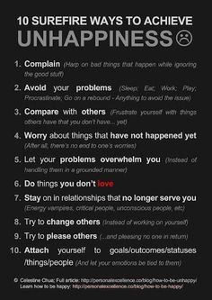 how to achieve UNhappiness | i disagree with 6, 7 & 10... but that's just me.