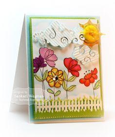 Sketched Blooms Card by Sankari Wegman #Cardmaking, #JustBecause