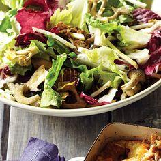 Mushroom, Chicory, and Celery-Root Salad Recipe Thanksgiving Salad, Thanksgiving Side Dishes, Thanksgiving Recipes, Fall Recipes, Honey And Mustard Salad, Stuffed Mushrooms, Stuffed Peppers, Large Salad Bowl, Pasta Salad Recipes
