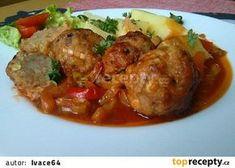 Kouličky z mletého masa pečené v domácím leču recept - TopRecepty.cz Food 52, Pork Recipes, Ground Beef, Food And Drink, Chicken, Cooking, Kitchen, Meatball, Sweets