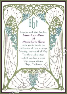 Art Nouveau Tree of Love Wedding Invitations and Reply card