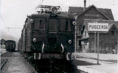 Locomotora 1000 en Puigcerdà. Foto de Ramón Pont (julio del 75)