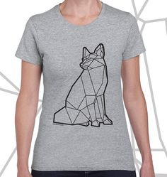 Geometric fox t-shirt polygon triangle minimalist hipster animal cub wolf lion tiger cat bear pig dog pug penguin panda deer turtle hippy uk