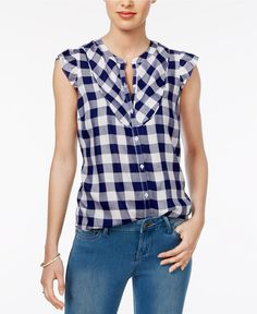 Maison Jules Flutter-Sleeve Gingham Shirt, Only at Macy's - Tops - Women - Macy's