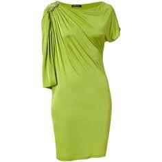 Roberto Cavalli - Apple Draped Sleeve Dress ($870) ❤ liked on Polyvore