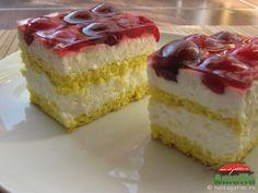 Prajitura cu branza de vaci si cirese sau visine (prajitura0) Romanian Desserts, Romanian Food, Romanian Recipes, Hungarian Cake, Sweets Cake, Food Cakes, Cake Cookies, Vanilla Cake, Cake Recipes