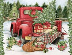 Weihnachtsreise sortiert In X In Boxed Christmas Cards - Neujahr Christmas Red Truck, Boxed Christmas Cards, Christmas Signs Wood, Christmas Scenes, Country Christmas, Outdoor Christmas, Christmas Pictures, Christmas Art, Christmas Holidays