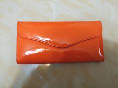 韓國宮庭復古高貴風橙色漆皮長銀包 90%new 購至:韓國